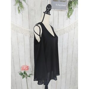 PHILOSOPHY black tunic lightweight off the shoulde